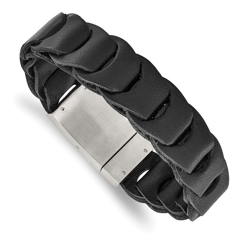 Chisel Stainless Steel Brushed Black Leather 8.25in Bracelet