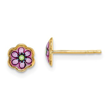 14K Children's Enamel Flower Post Earrings