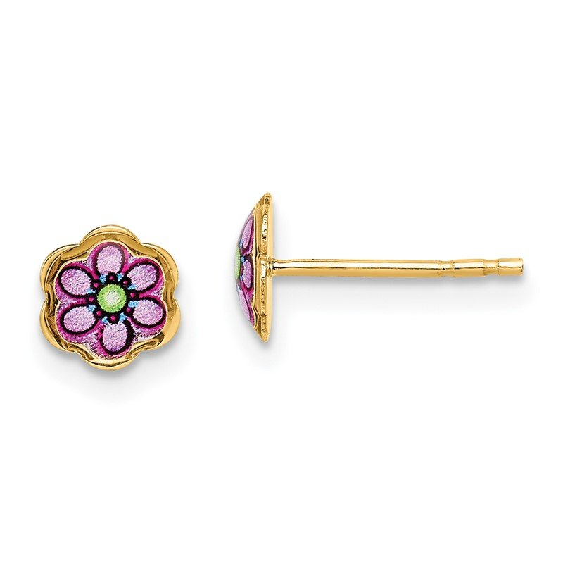 Quality Gold 14K Children's Enamel Flower Post Earrings