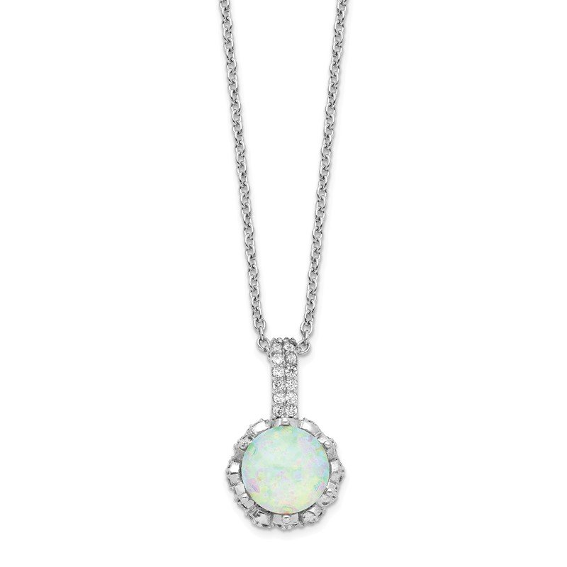 Cheryl M Cheryl M SS CZ & Lab Created White Opal Necklace