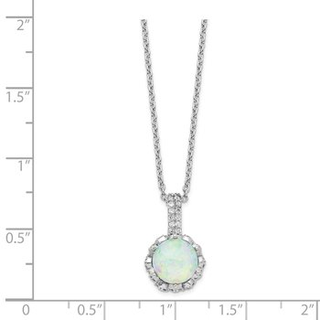 Cheryl M SS CZ & Lab Created White Opal Necklace