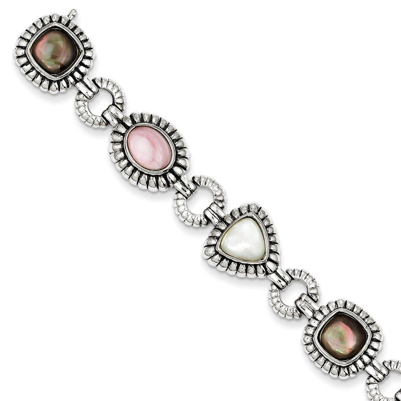 Quality Gold Sterling Silver Pink/Black/White Mother of Pearl 7.75in Bracelet