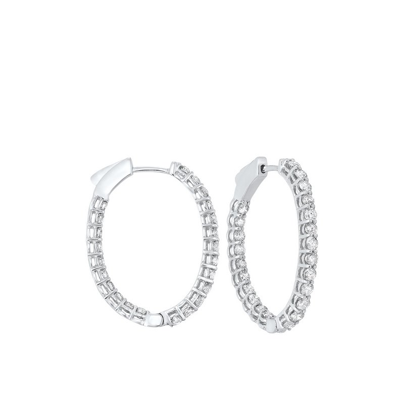 Calvin Broyles In-Out Prong Set Diamond Hoop Earrings in 14K White Gold (2 ct. tw.) I2/I3 - H/K