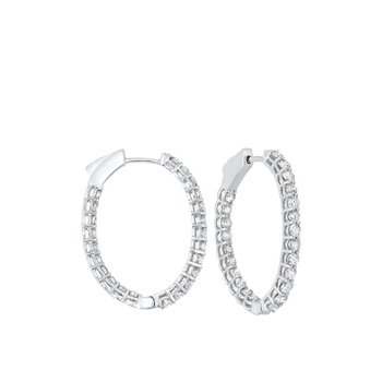 In-Out Prong Set Diamond Hoop Earrings in 14K White Gold (2 ct. tw.) I2/I3 - H/K