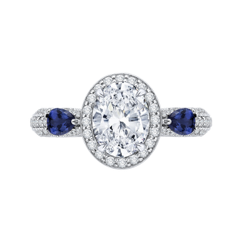 18K White Gold Oval Diamond Halo Engagement Ring with Sapphire (Semi-Mount)