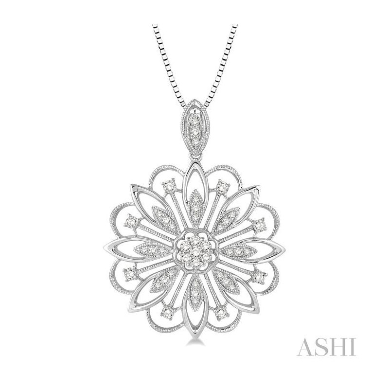 ASHI flower shape lovebright diamond pendant