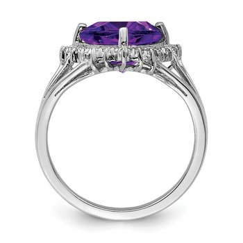 Sterling Silver Rhodium Trillion Amethyst & Diamond Ring