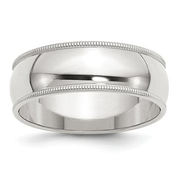 Sterling Silver 7mm Half Round Milgrain Band