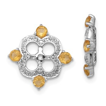 Sterling Silver Rhodium Diam. & Citrine Earring Jacket
