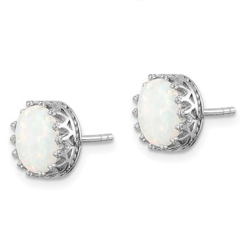 Sterling Silver Rhodium-plated 6mm Polished Oval Created Opal Post Earrings
