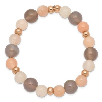 Stainless Steel Polished Rose IP Grey Agate Pink/White Aventurine Bracelet