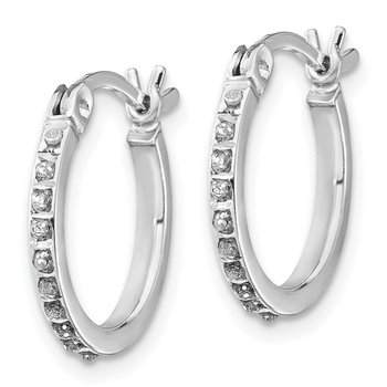 SS Diamond Mystique Round Hoop Earrings & Hinged Bangle Set