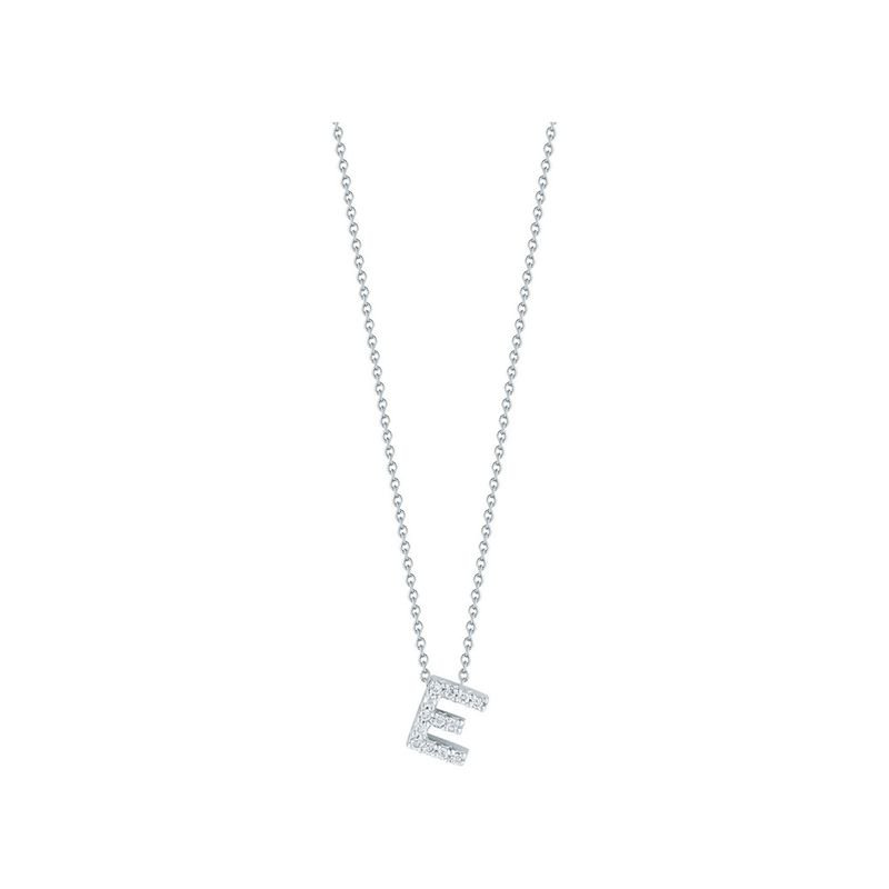 Roberto Coin Love Letter E Pendant With Diamonds