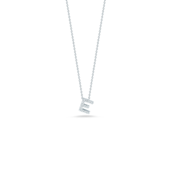 18KT GOLD LOVE LETTER E PENDANT WITH DIAMONDS