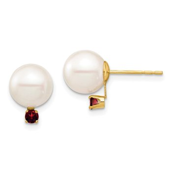 14K 8-8.5mm White Round Freshwater Cultured Pearl Garnet Post Earrings