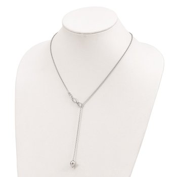 Sterling Silver CZ Infinity Adjustable Necklace