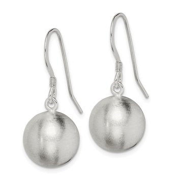 Sterling Silver Polished Laser-cut Ball 12mm Shepherd Hook Earrings