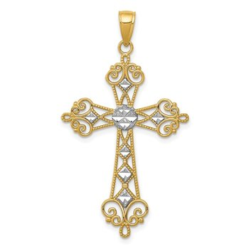 14K w/Rhodium Polished Diamond-Cut Cut-Out Cross Pendant