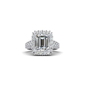 OMG Series Emerald Cut Halo Engagement Ring