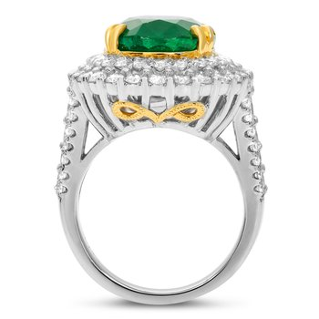 Emerald & Diamond Double Prong Ring