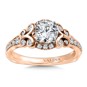 Diamond Engagement Ring Mounting in 14K Rose Gold (.355 ct. tw.)