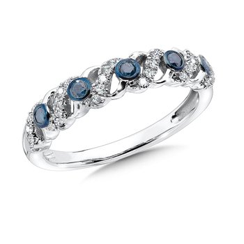 Pave set,  Blue and White Diamond Fashion Ring set in 14k White Gold (1/4 ct. tw.)