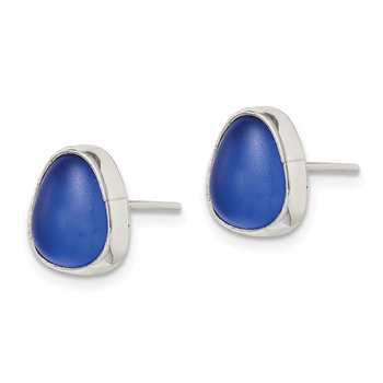 Sterling Silver Blue Sea Glass Stud Earrings