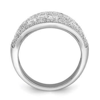 Sterling Silver Rhodium-plated Pave CZ Ring
