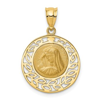 14K Brushed & Polished Virgin Mary Pendant