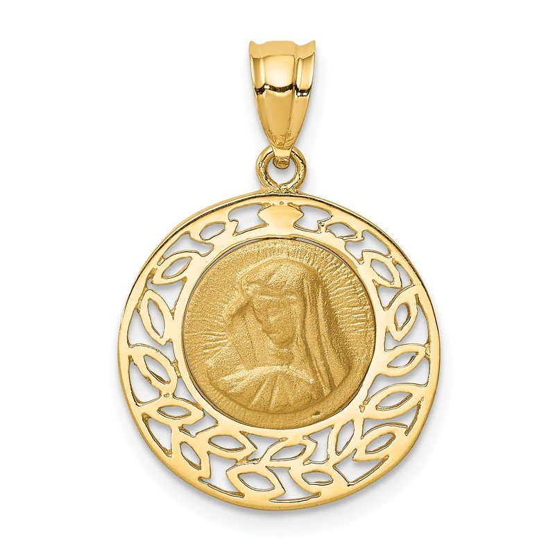 Quality Gold 14K Brushed & Polished Virgin Mary Pendant