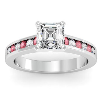 Channel set Ruby and Diamond Engagement Ring