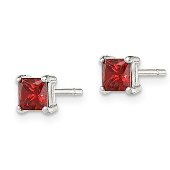 Sterling Silver Polished Red Glass Post Earrings