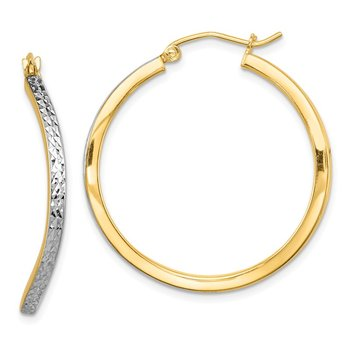 Sterling Silver Rhodium-plated & Vermeil D/C Wavy Square Hoop Earrings