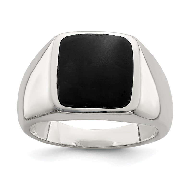 Quality Gold Sterling Silver Synthetic Onyx Ring