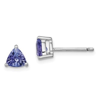 Sterling Silver Rhodium-plated Trillion Tanzanite Post Earrings