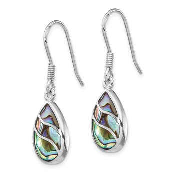 Sterling Silver Rhodium-plated Abalone Teardrop Dangle Earrings