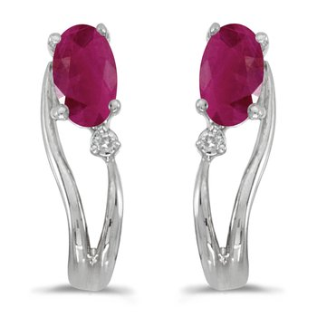 14k White Gold Oval Ruby And Diamond Wave Earrings
