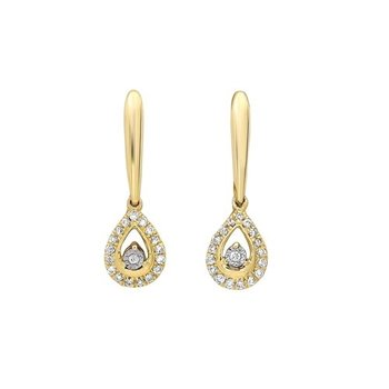 Diamond Teardrop Halo Dangle Earrings in 14k Yellow Gold (1/10ctw)