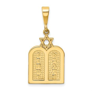 14K Polished 10 Commandment Tablets w/Star Of David Charm