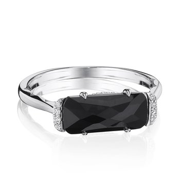 Solitaire Emerald Cut Ring with Black Onyx
