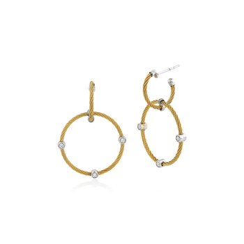 Yellow Cable Double Hoop Drop Earrings with 18kt White Gold & Diamonds