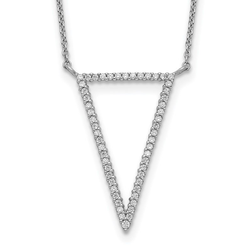 Quality Gold Sterling Silver Triangle CZ Necklace