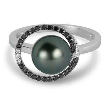 14K WG Black & White Diamond Ring with Center Gray Pearl