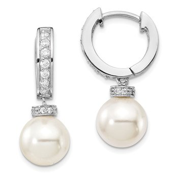 Sterling Silver Majestik Rh-plated 10-11mm Imitat Shell Pearl CZ Earrings