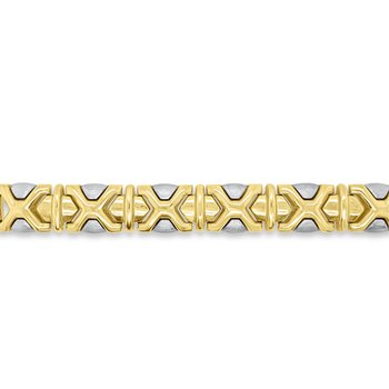 14K Yellow Gold and Brushed White Gold Bracelet