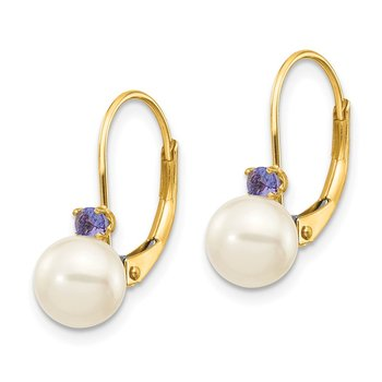 14k 6-6.5mm White Round FW Cultured Pearl Tanzanite Leverback Earrings