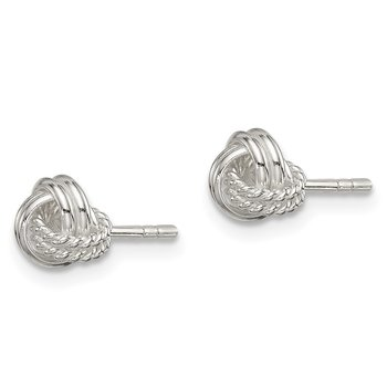 Sterling Silver Polished and Textured Knot Post Earrings