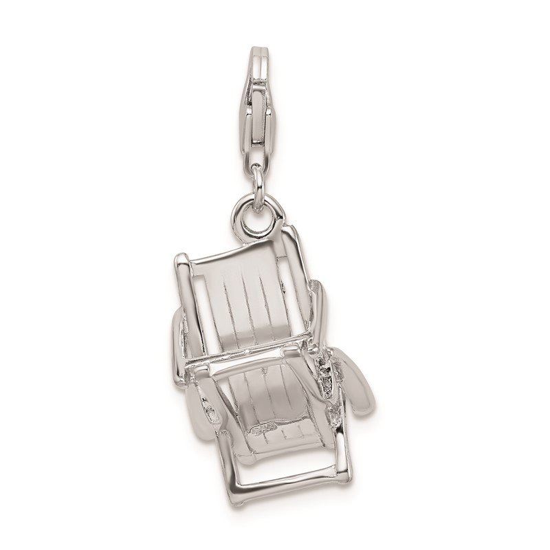 Quality Gold Sterling Silver Amore La Vita Rhodium-pl 3-D Enameled Beach Chair Charm