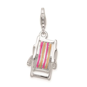 SS RH 3-D Enamel Beach Chair w/Lobster Clasp Charm