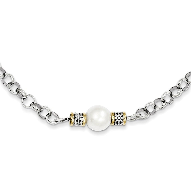 Sterling Silver w/14k 9-9.5mm FW Cultured Pearl 32in Necklace